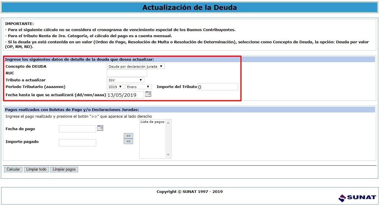 Calculadora tributaria paso 1