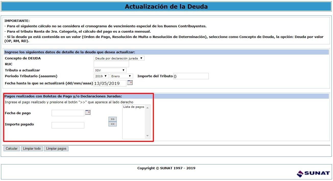 Calculadora tributaria paso 2