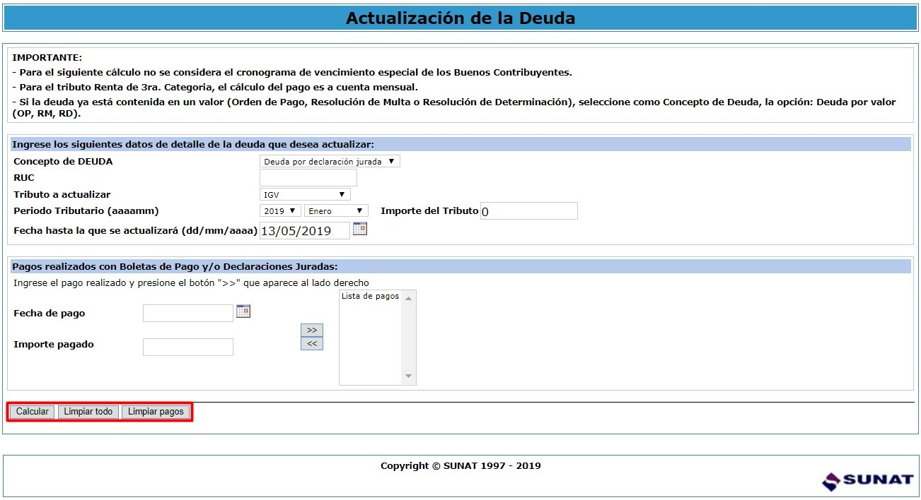 Calculadora tributaria paso 3