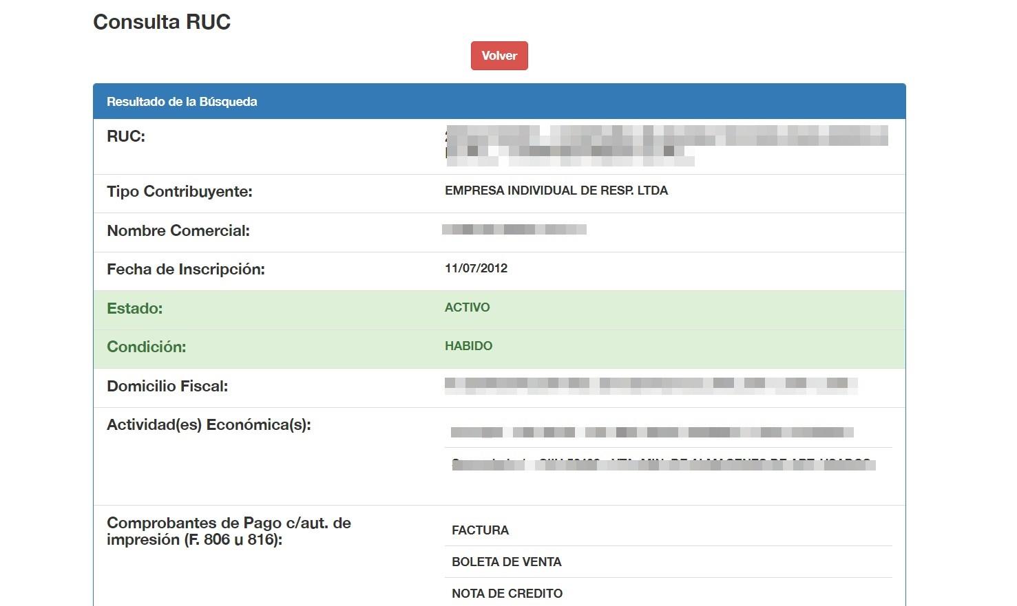 Consulta RUC Perú paso 3