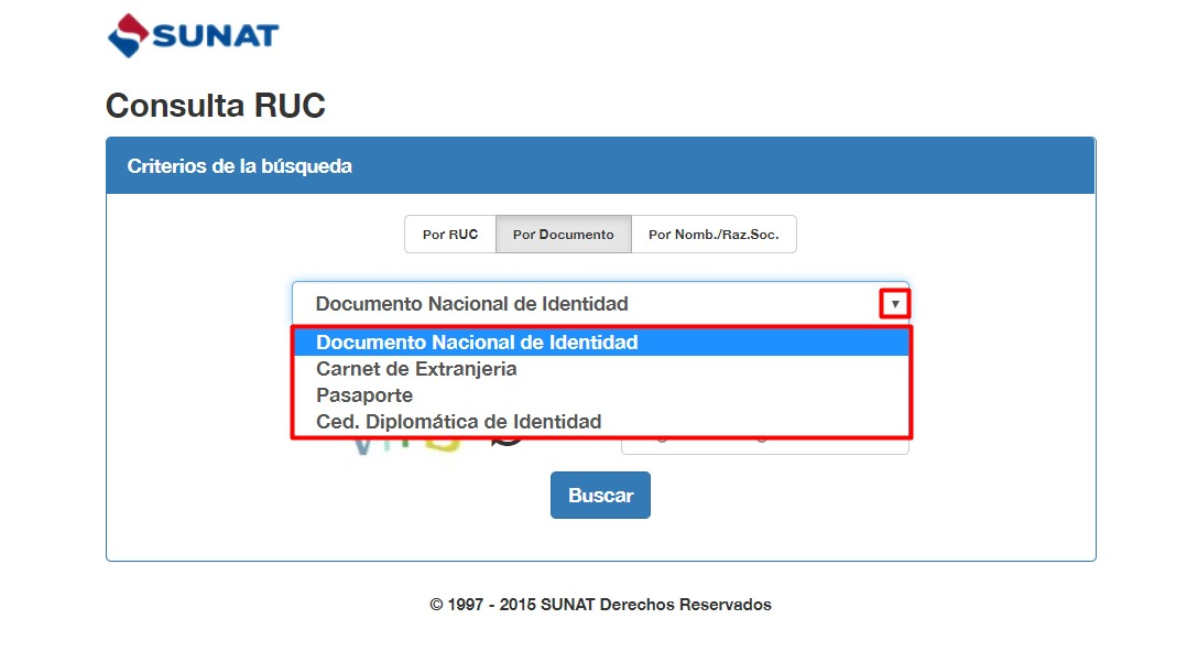 Consulta RUC por documento de identidad