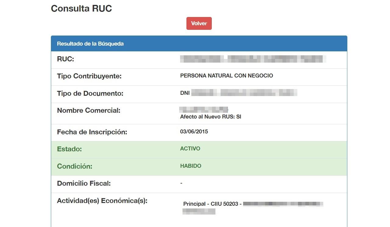 Consulta RUC por documento de identidad 2