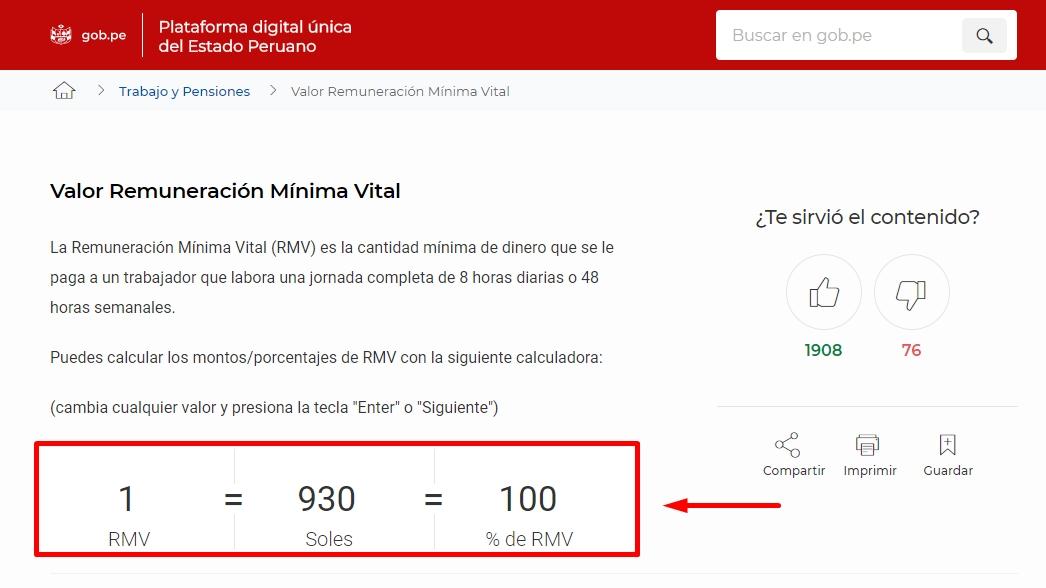 Calculadora de sueldo mínimo Perú