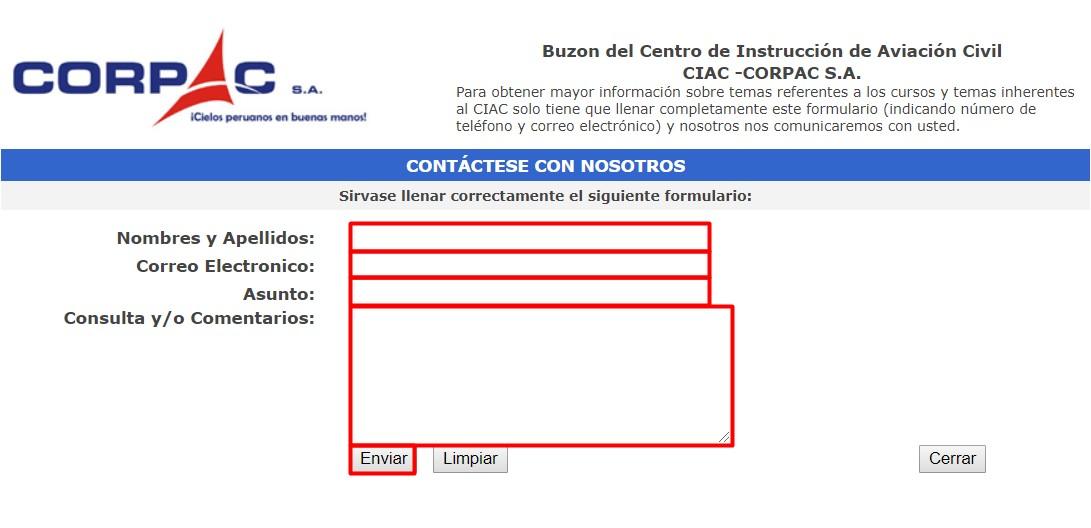 Formulario contacto CORPAC Perú