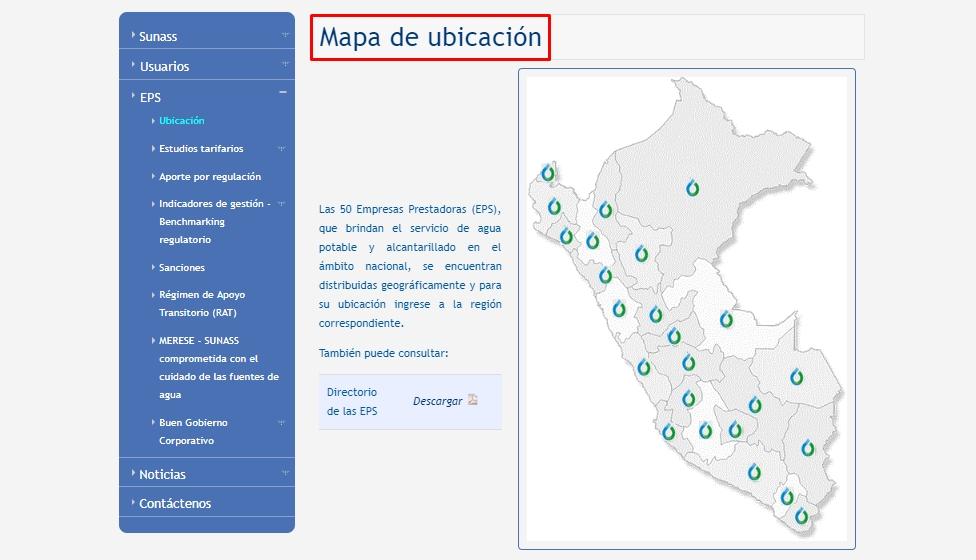 Mapa de ubicación EPS en Perú